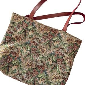 Vintage Smithsonian tapestry Jacquard Floral tote
